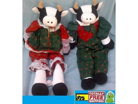 Pair of Christmas Cows about 25 inches $25.00