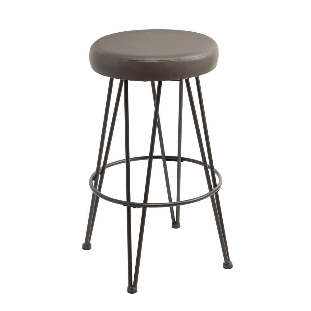 Silverwood Furniture Reimagined Vinnie 29 In Gold Upholstered Metal Backless Bar Stool Backless Bar Stools Upholstered Bar Stools Metal Bar Stools