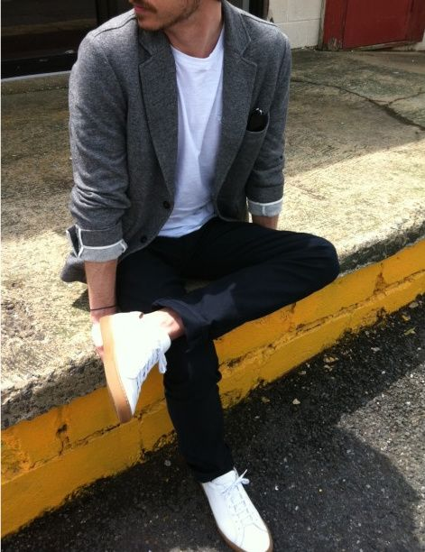 Charcoal Jacket White Tee Slim Black Jeans Tennis Shoes Casual Wear For Men Mens Outfits Men Casual