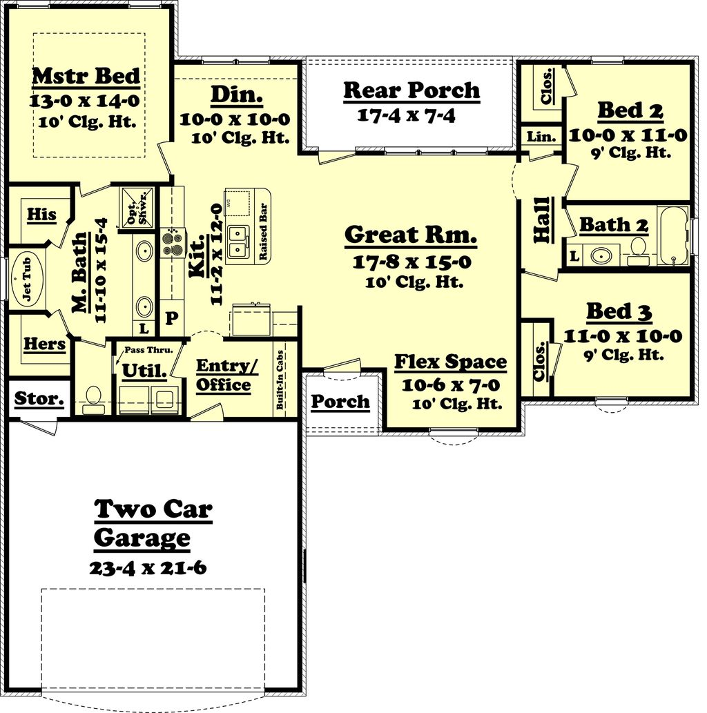 Ranch style house plan 3 beds 2 baths 1500 sq ft plan for 2 car garage sq ft