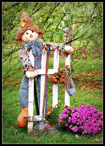Autumn Decor For The Yard Including An Adorable Scarecrow