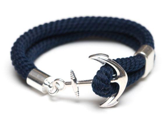 629e8773059a Nautical Rope Bracelet   Nautical Anchor Bracelet   Navy Blue Anchor ...