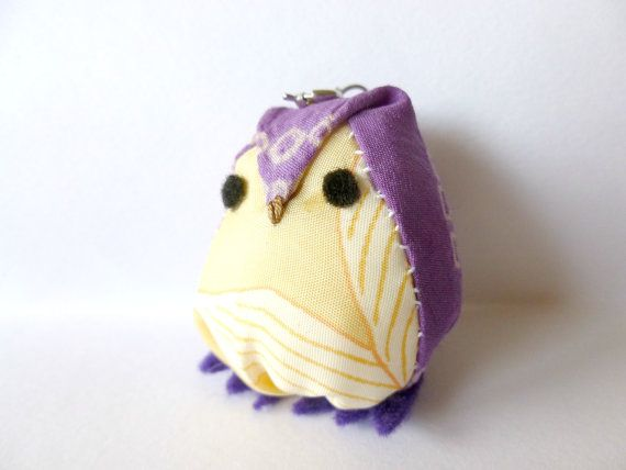 Purple Handmade Japanese Kimono Fabric Owl Ornament, Fabric Owl, Zipper Pull, Owl Pendant, Owl Key Chain, Plush Animal Art, Phone Owl Charm