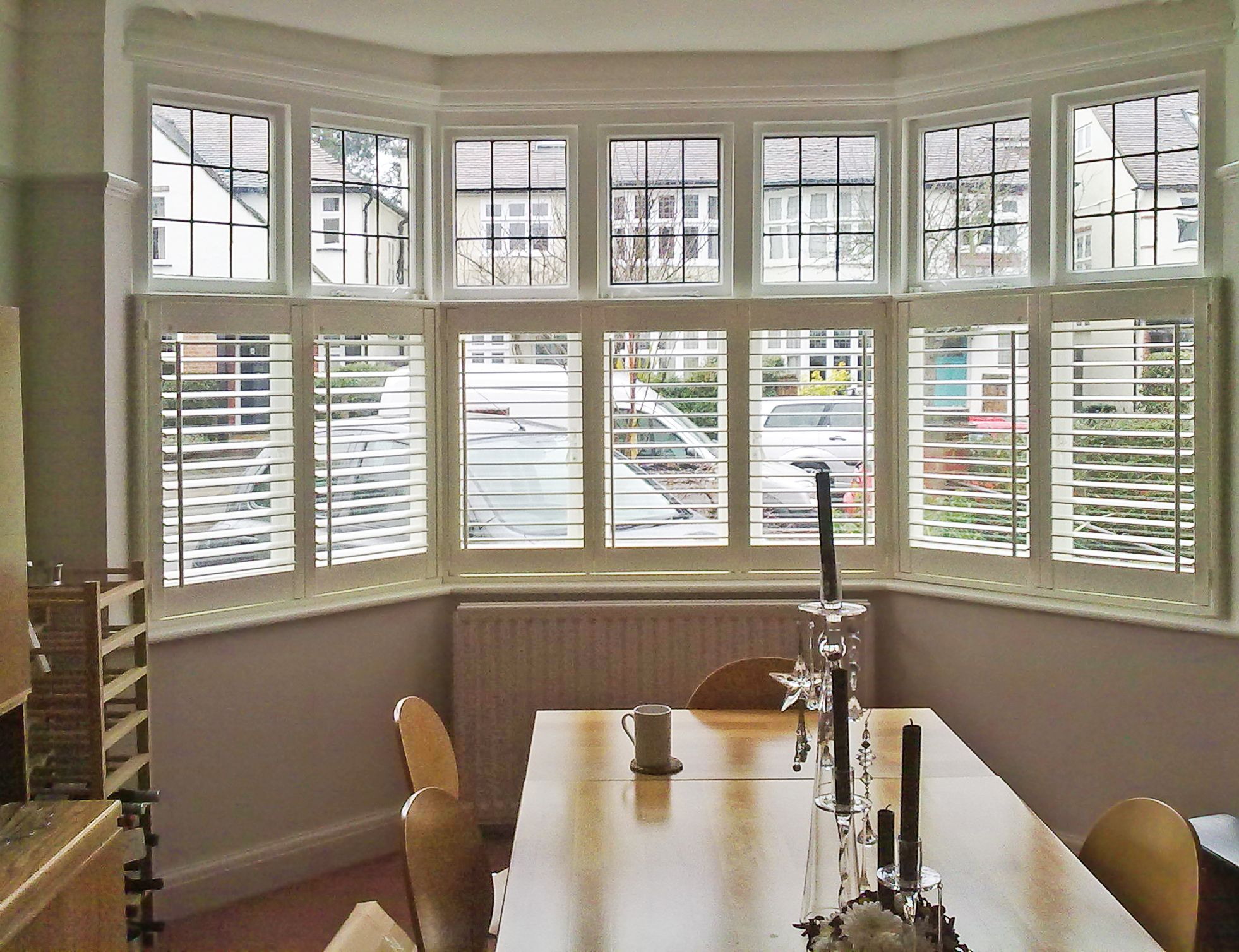 Kitchen bay window exterior  cafe style shutters for dining room bay window  living room