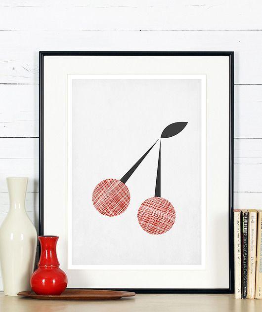 Plakat Do Kuchni Minimalizm Wiśnie Owoce A4 Graphics