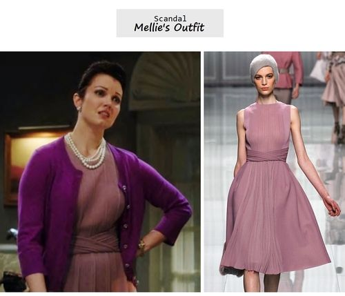 "Mellie in a Kate Spade ""Evangelia"" cardi & Christian Dior fall rtw 2012 dress. Worn in 'Boom goes the dynamite'"
