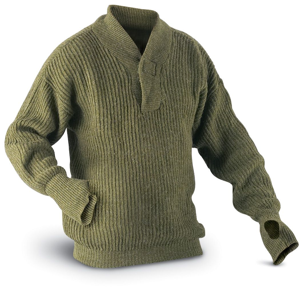 Austrian Army Olive Wool Blend Sweater Jumper Pullover Sweatshirt Military Khaki Surplus Militaria