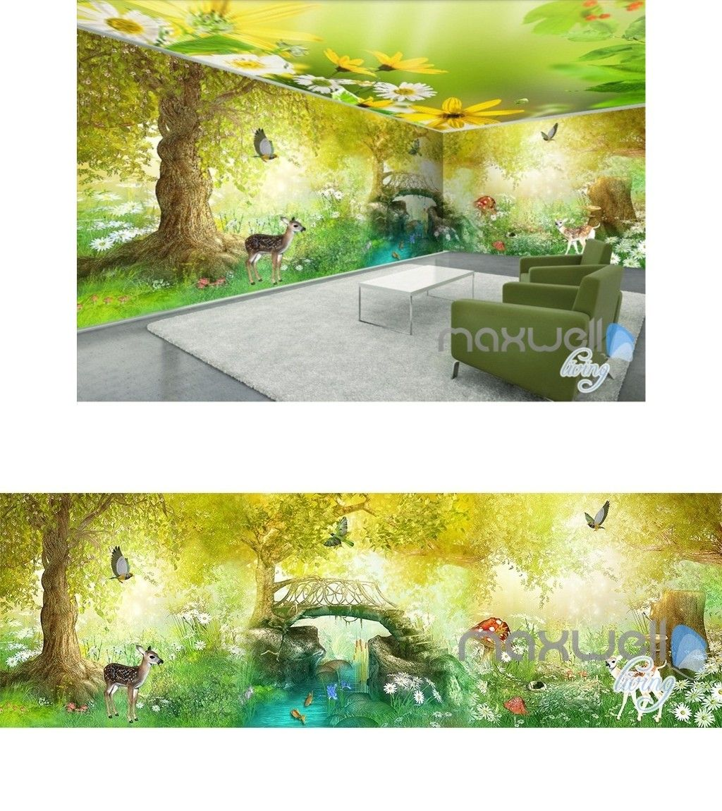 Fairy tale forest deer butterfly entire kids room wallpaper 3D wall ...