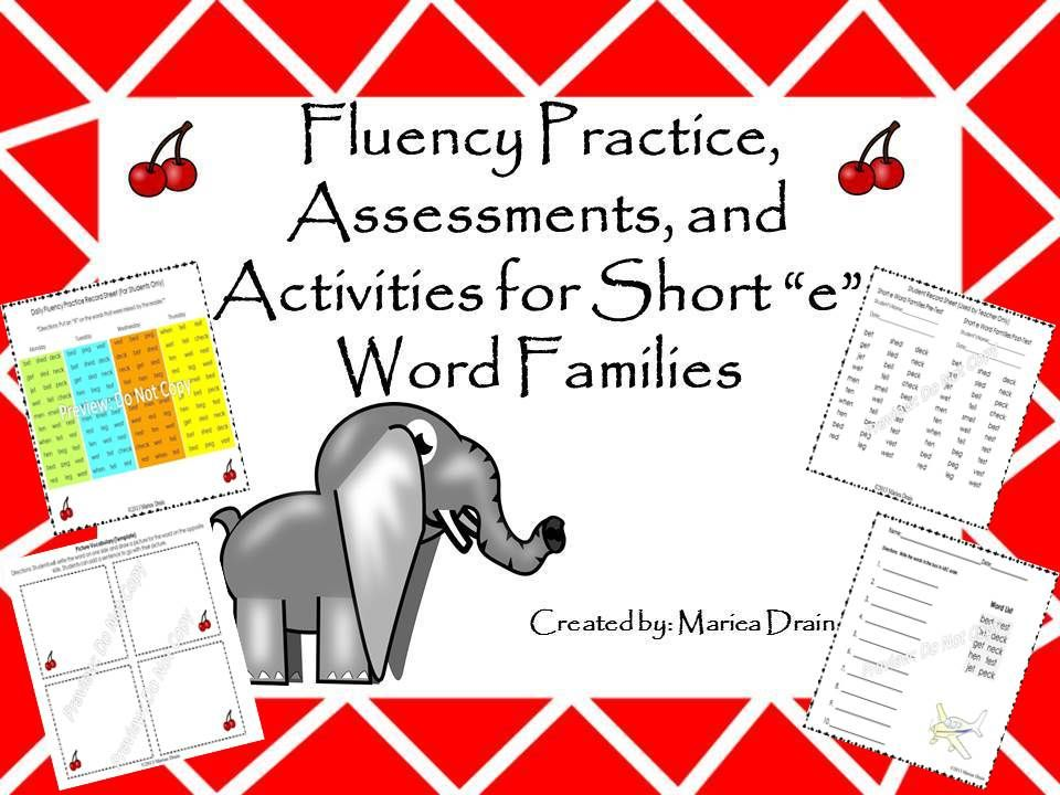 Fluency Practice, Assessments, and Activities for Short \u201ce\u201d Word - order sheet template