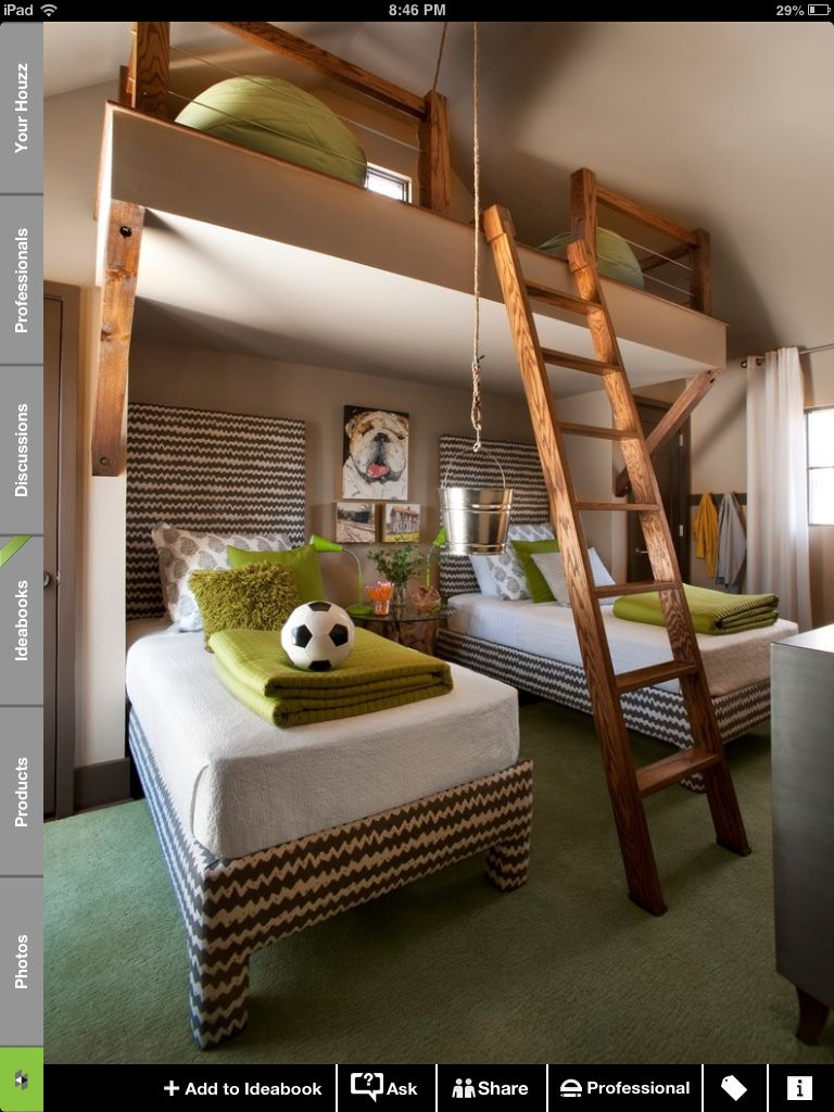 Loft bunk bed with slide  Pin by Megan Peri on White Picket Fence  Pinterest  Lofts White
