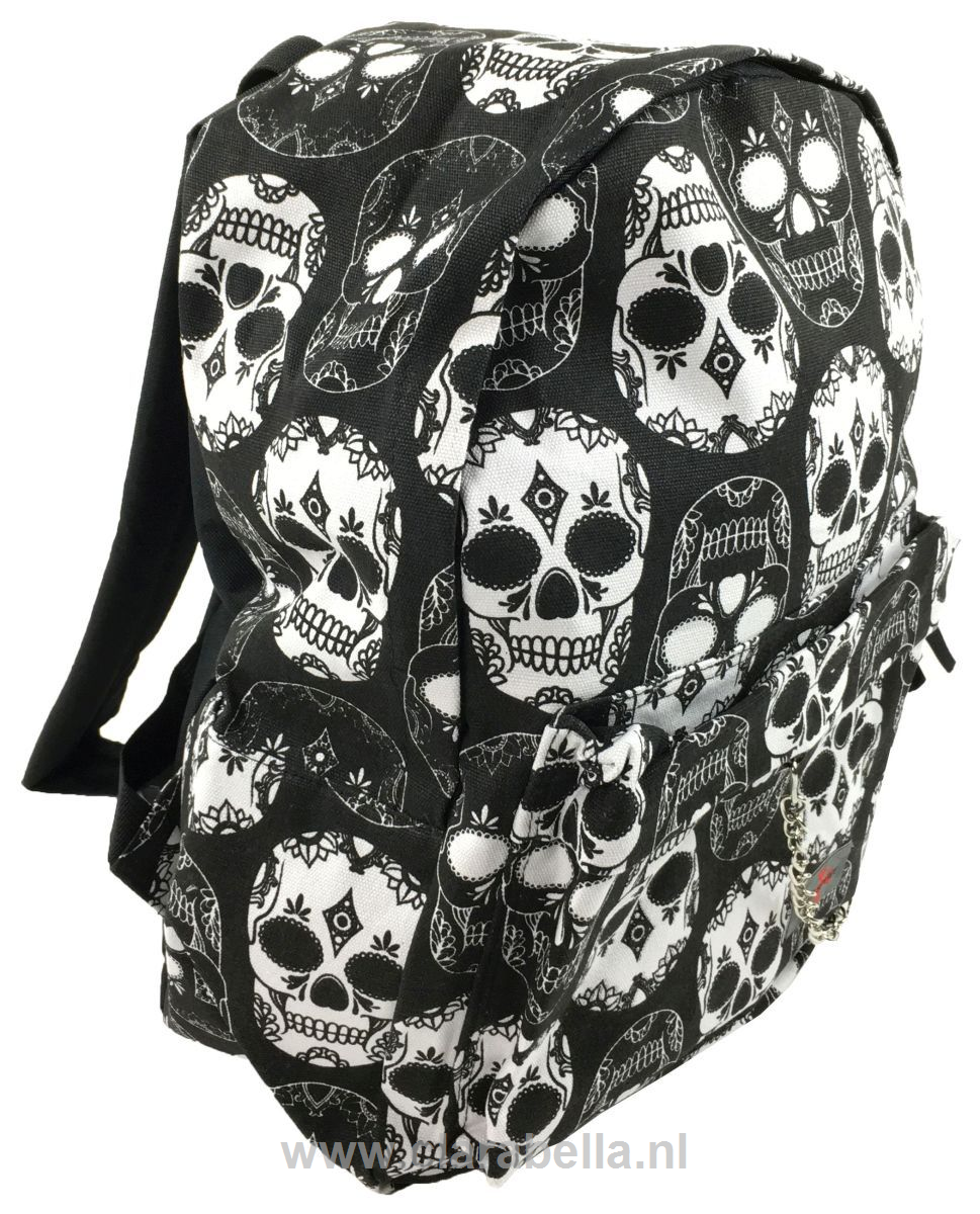 Mexican Skull Black White Mix Rucksack Price: €19.95 http://www.clarabella.nl/accessories/bags/rucksack/mix/mexican-skull-black-white-mix-rucksack/ 15% discount on EVERYTHING in our store. Sign up here to receive your personal discount code:http://eepurl.com/boSy7H