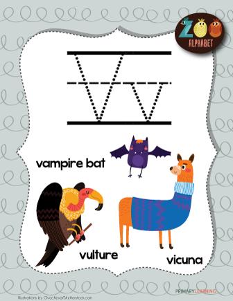 Letter V Animals Printable Poster Primarylearning Org Letter V Animal Posters Lettering