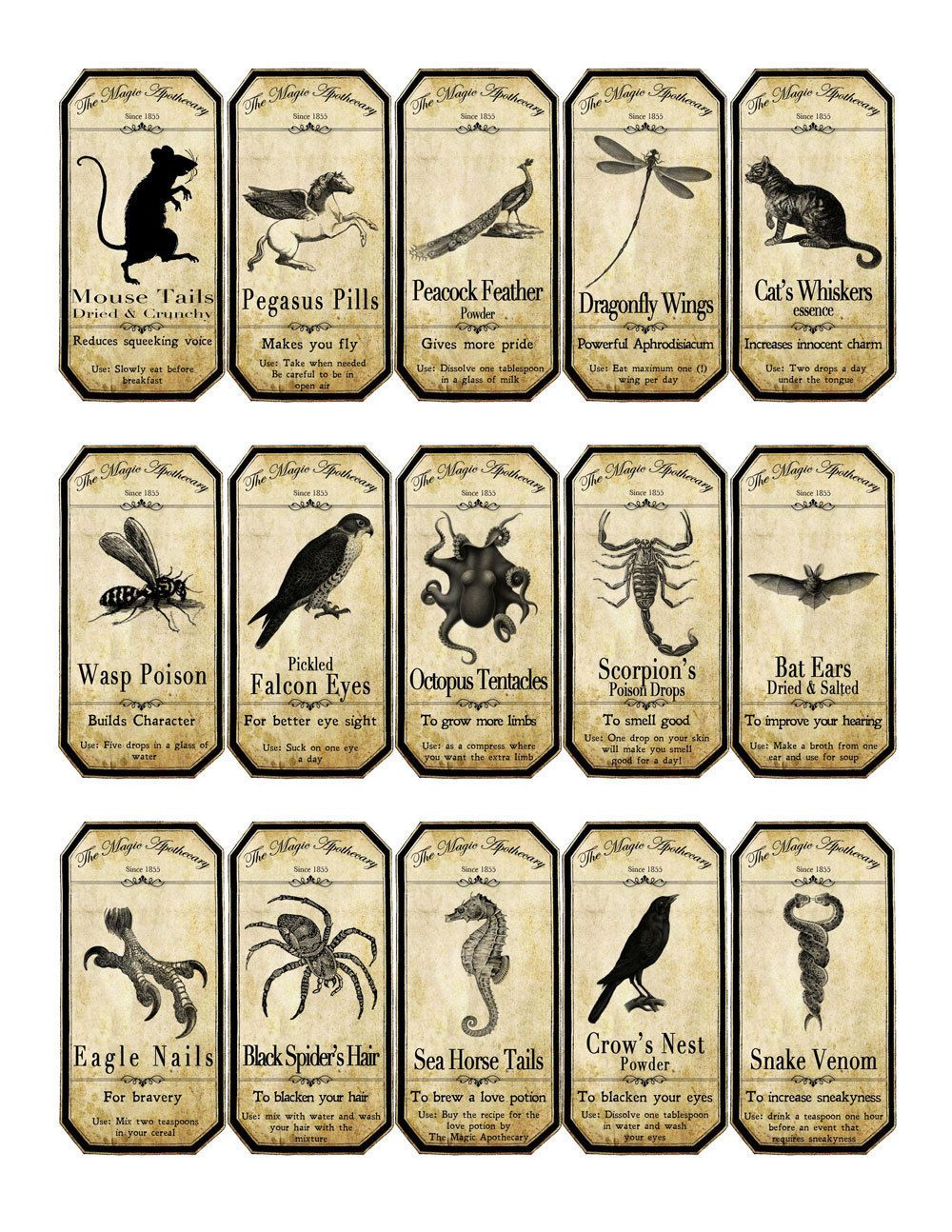 Shocking image with regard to harry potter apothecary labels free printable