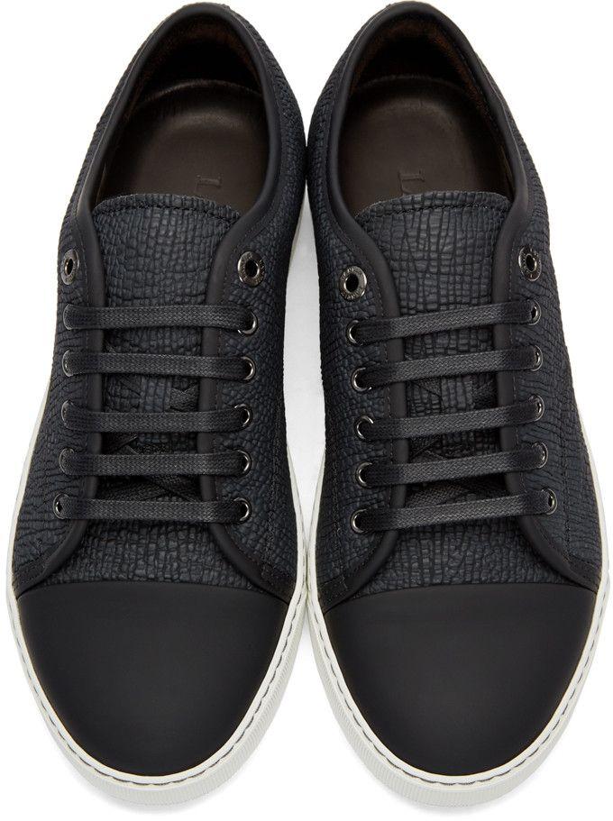 Black Shark-Embossed Leather Sneakers