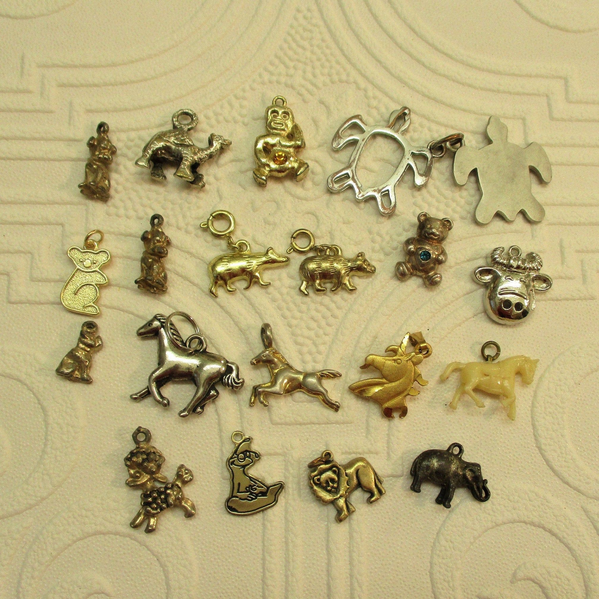 Sterling Silver Lucky Charms Vintage Bracelet Charms Lot Farm Animals
