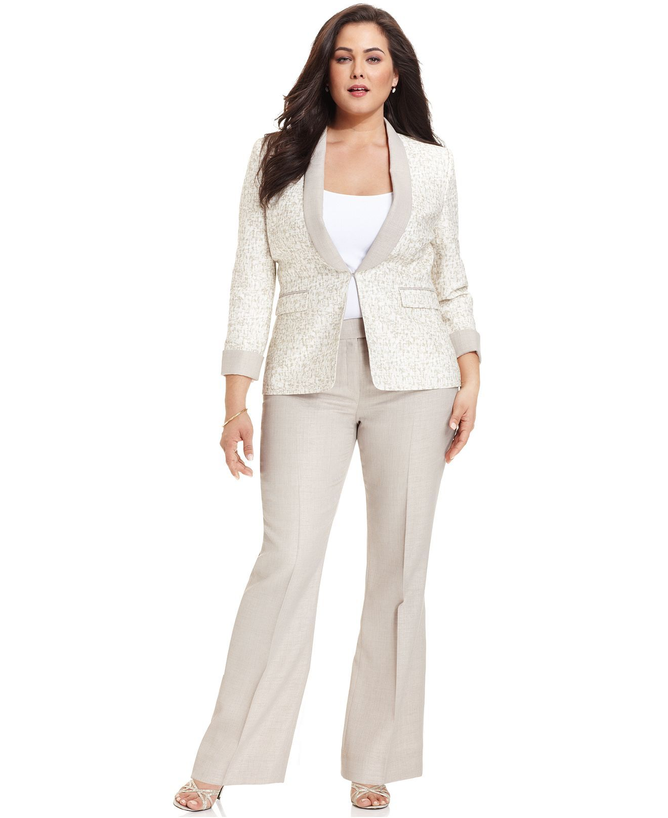 Tahari By Asl Plus Size Suit Shawl Collar Printed Jacket Trousers