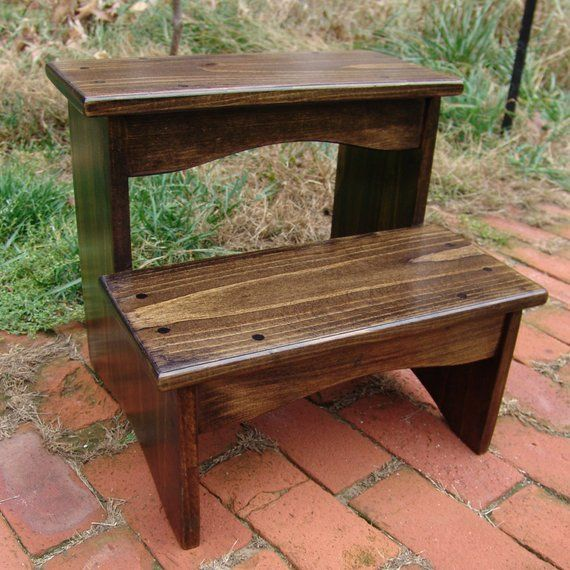 Handcrafted Heavy Duty Wooden Step Stool 16 Extra Tall Wood Pet Steps Kitchen Bedside Bed Bathro
