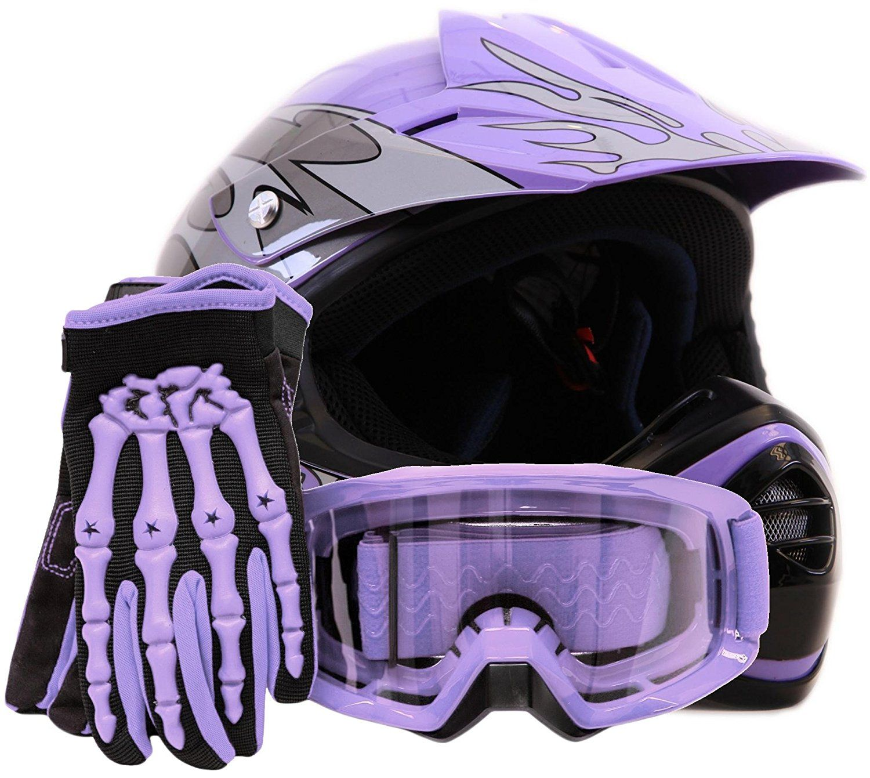 Youth Offroad Gear Combo Helmet Gloves Goggles Dot Motocross Atv Dirt Bike Mx Motorcycle Purple Xl Dirt Bike Gear Dirt Bike Helmets Dirt Bike