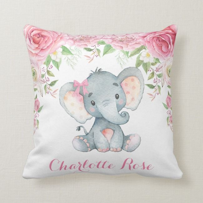Little Girl S Bedroom Decorating Ideas And Adorable Girly: Elephant Pink Floral Roses Baby Girl Nursery Decor Throw