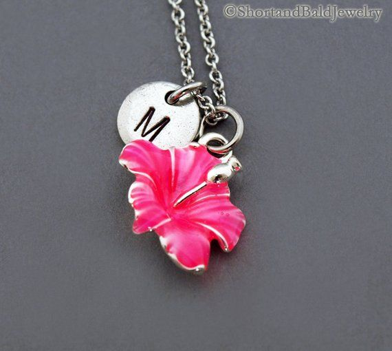 Hibiscus Necklace Pink Hibiscus Hibiscus Charm Necklace Antique