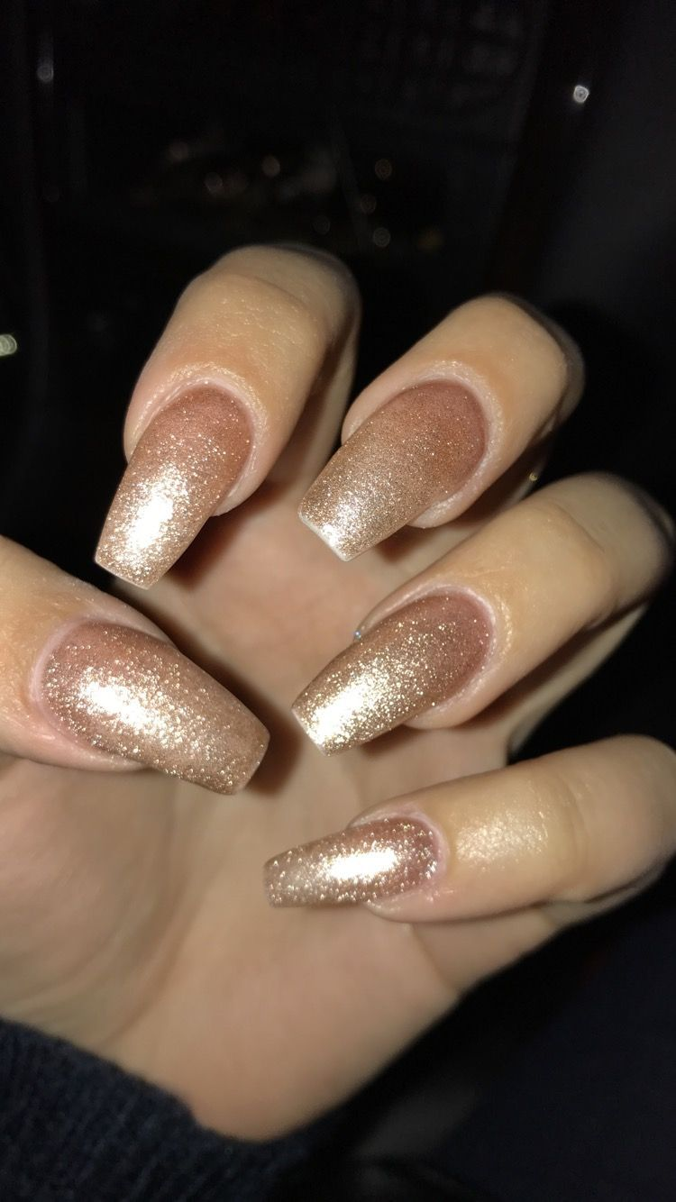Nails Rose Gold Glitter Nails Coffin Shape In 2020 Coffin Shape Nails Gold Acrylic Nails Rose Gold Nails Glitter