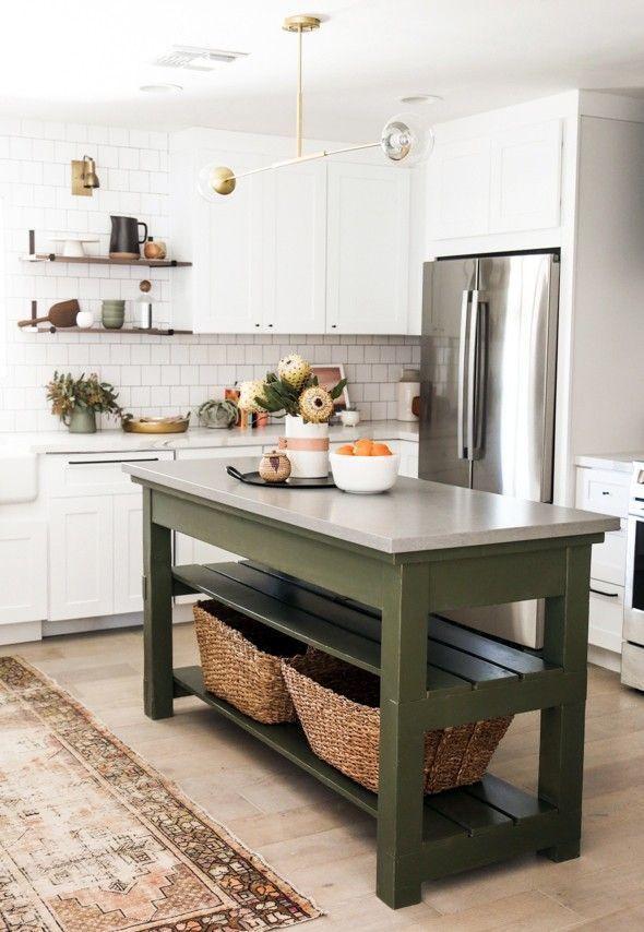 Kitchen Without Island   Forest Green Kitchen Island Great Way To Update Your Kitchen