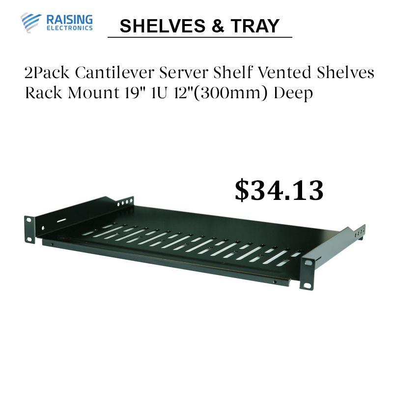2pack Cantilever Server Shelf Vented Shelves Rack Mount 19 1u 12 300mm Deep In 2020 Cantilever Shelf Rack Shelf Electronic Packaging