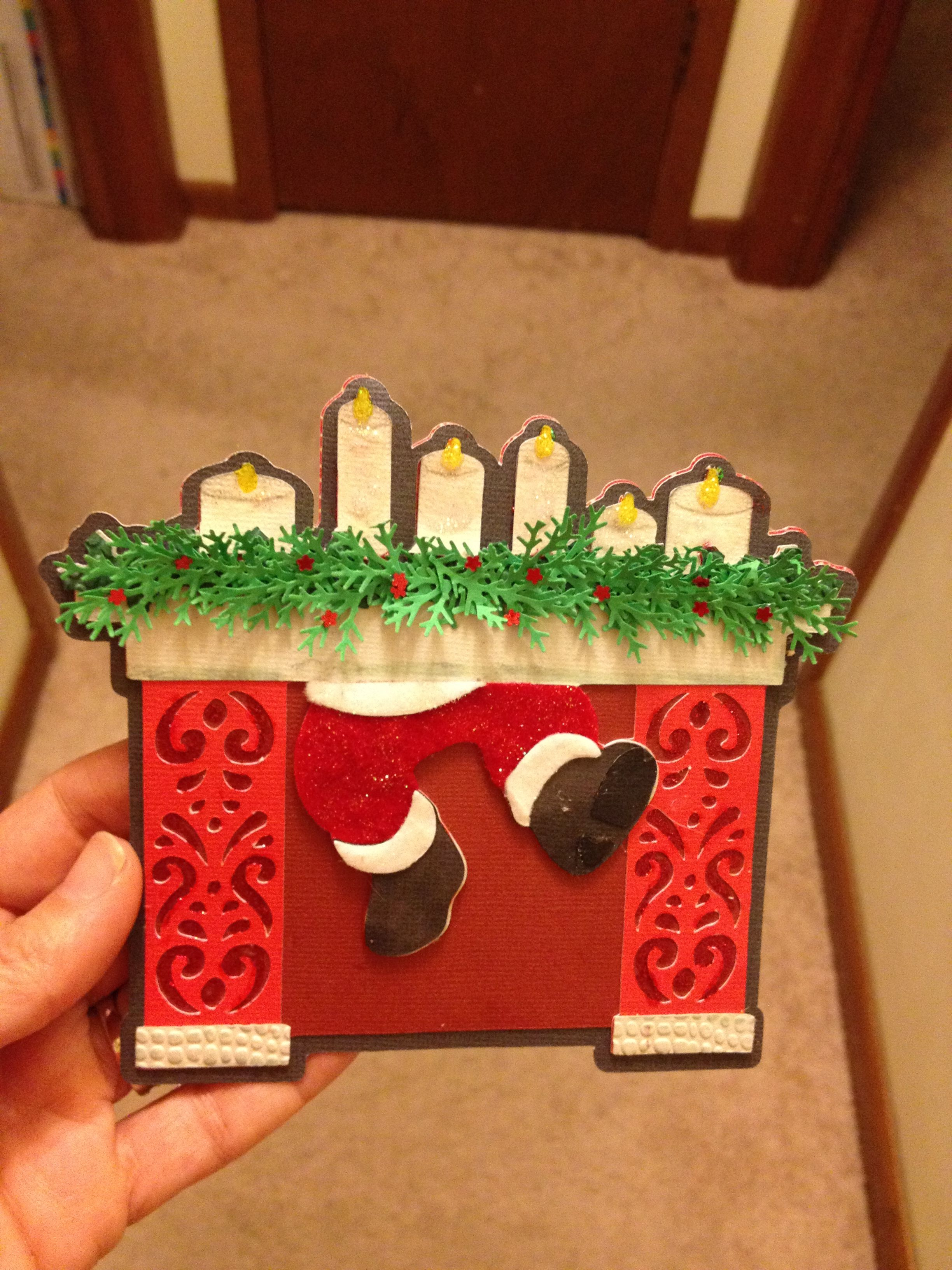 Cricut Christmas Craft Ideas Part - 47: Cricut Christmas Card - Santa In Chimney*** Cartridges Used: A Quilted  Christmas