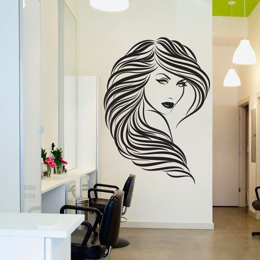 Diy vinyl hair beauty salon sexy girl wall decal home for Spa wall decor