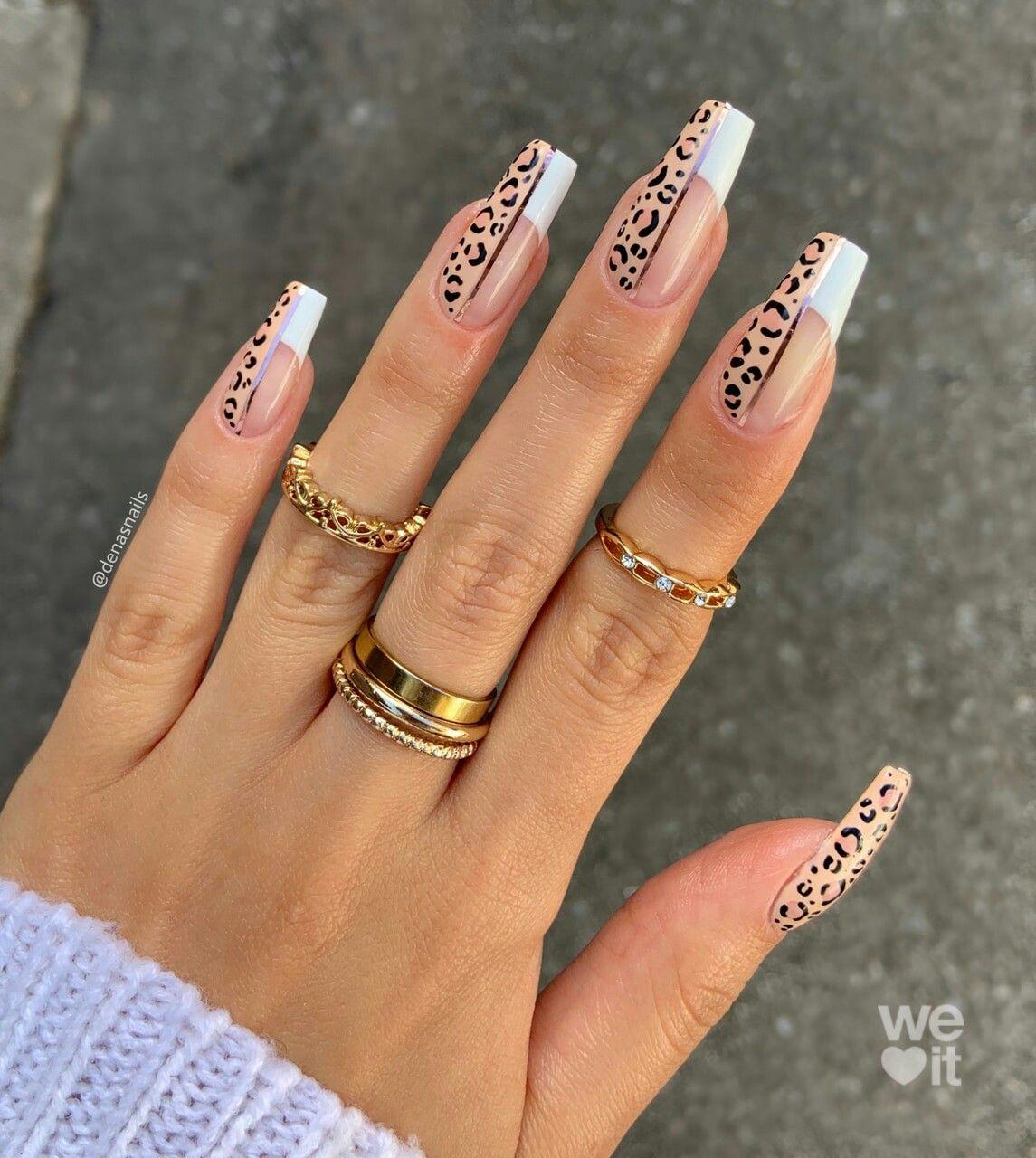 Pin By Brenda Pereira On Nail Design In 2020 Cheetah Acrylic Nails Tapered Square Nails Bling Acrylic Nails
