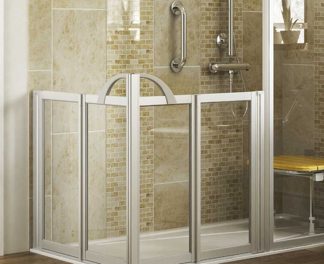 Walk in Showers | Half height panel with bifold doors - Mobility ...