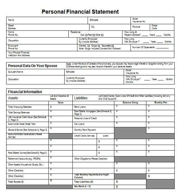 Best 3 Personal Financial Statement Template Personal