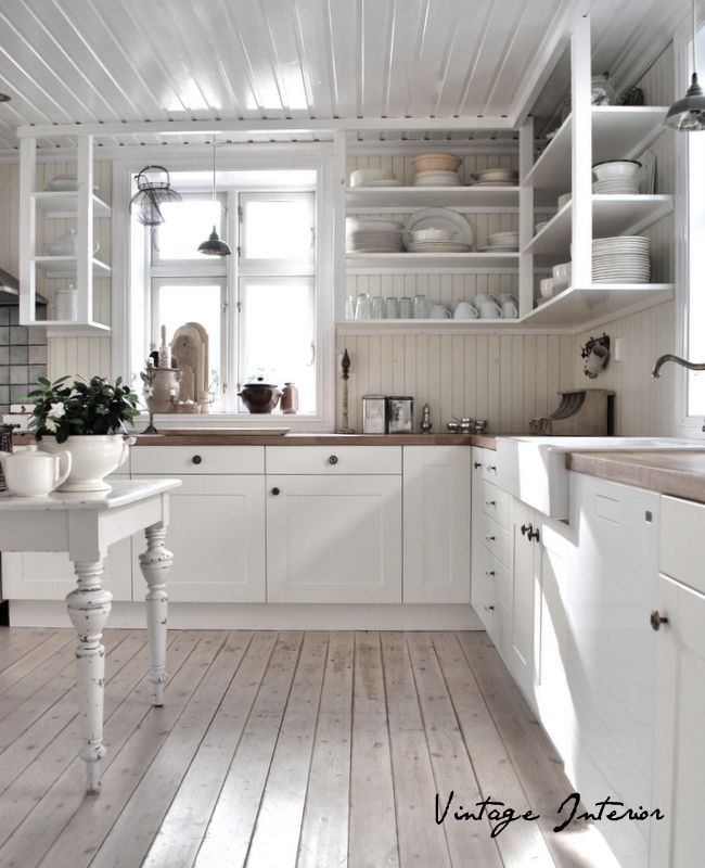 I love the white washed floors for our upstairs and the for Beautiful kitchens with white cabinets