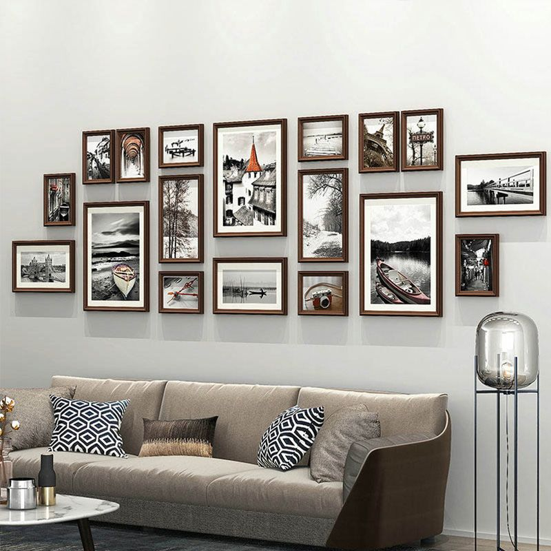 Modern Picture Frame Solid Wood Photo Frame Creative Photo Wall 18pcs Set Ymq20 Picture Wall Living Room Modern Picture Frames Picture Frames