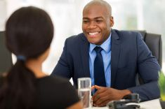 african american businesspeople having a business meeting stock photo