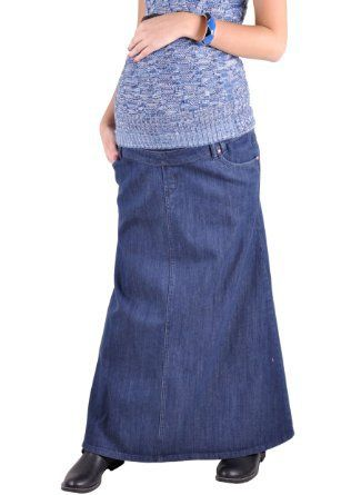 amazing selection sale usa online where can i buy Style J Everyday Maternity Long Denim Skirt | Want_It ...