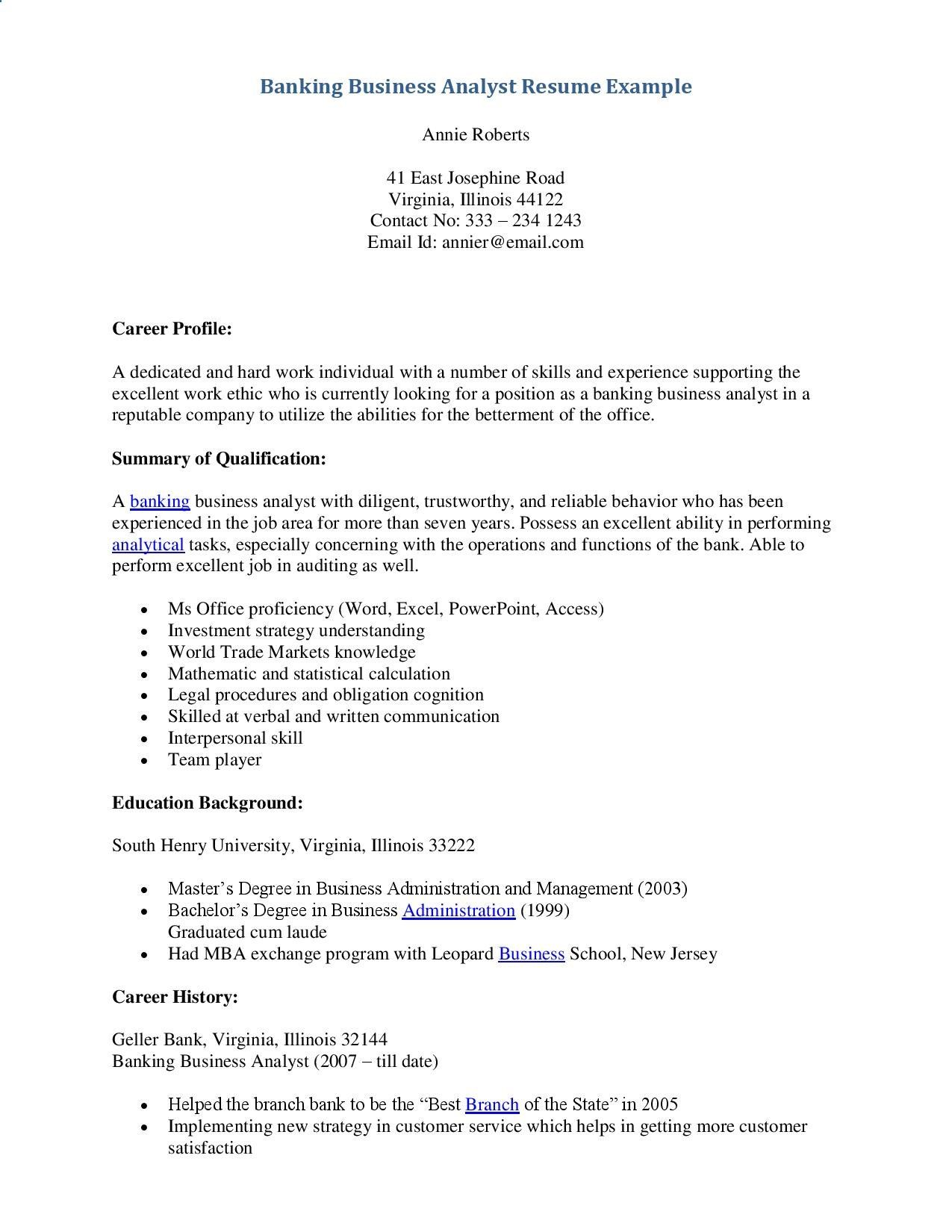 Delightful Banking Business Analyst Resume   Topresume.info/.