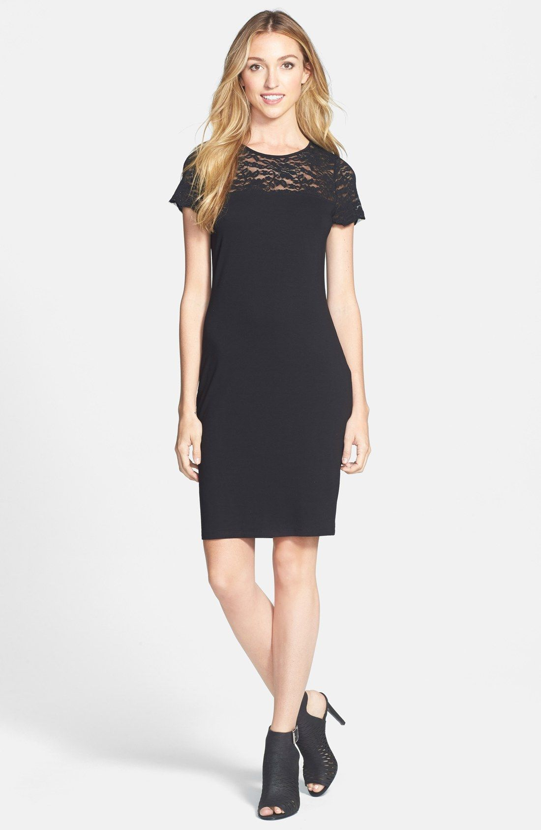 Vince Camuto Lace Yoke Cap Sleeve – pretty black dress / @nordstrom ...