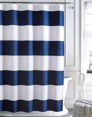 Tommy Hilfiger Cabana Stripe Shower Curtain White Amp Navy Blue