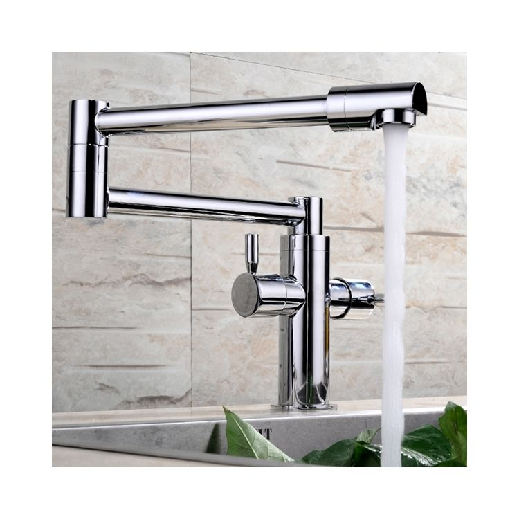 Pre-Rinse Kitchen Sink Faucet Dual Handle Pull Down chrome Sprayer Mixer Tap HC