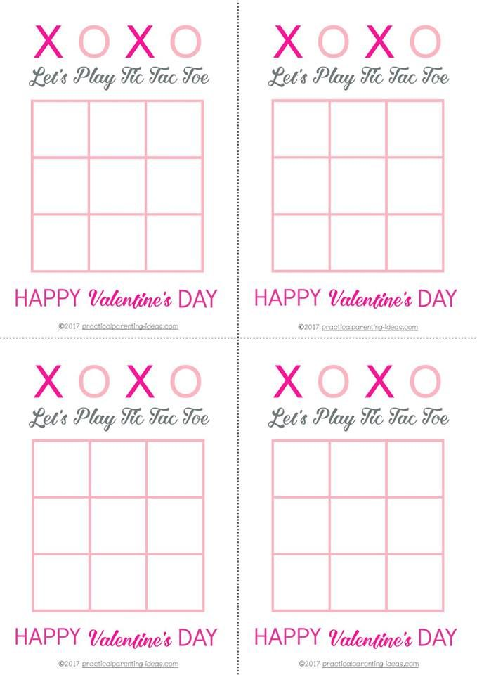 Free Printable Tic Tac Toe Valentine's Day Cards ...