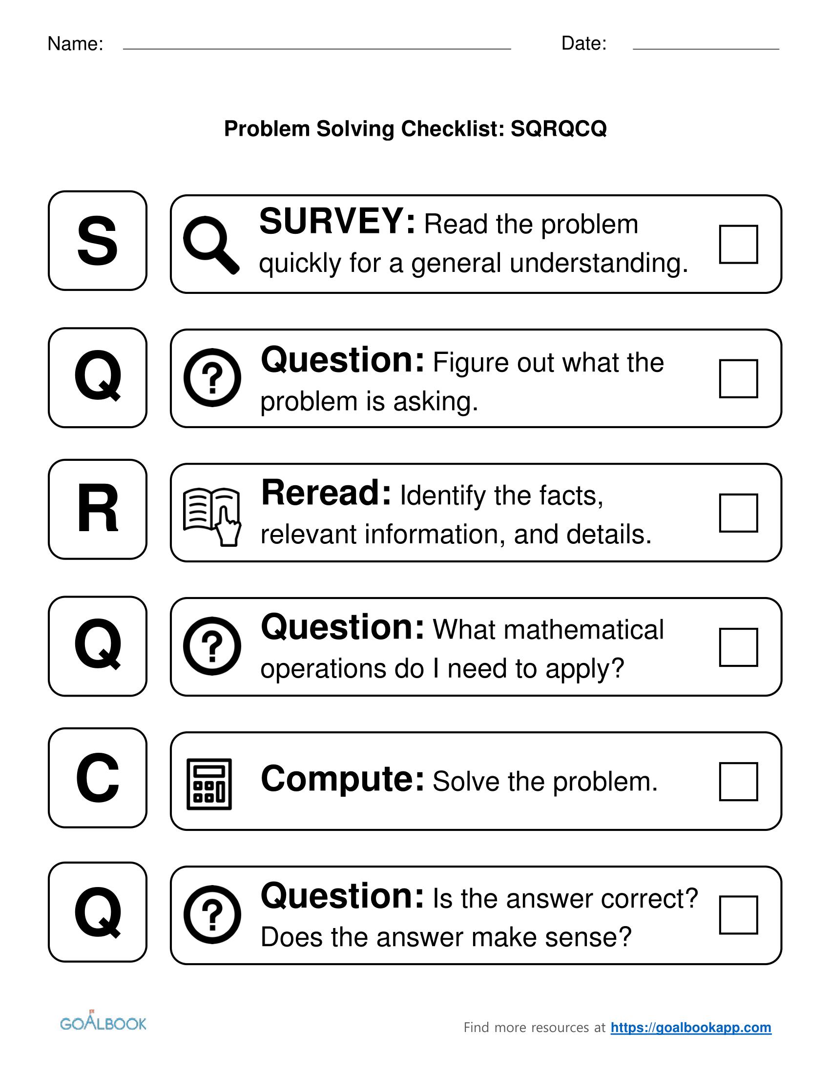 Sqrqcq Problem Solving Checklist Problem Solving Worksheet Problem Solving Strategies Problem Solving [ 2200 x 1700 Pixel ]