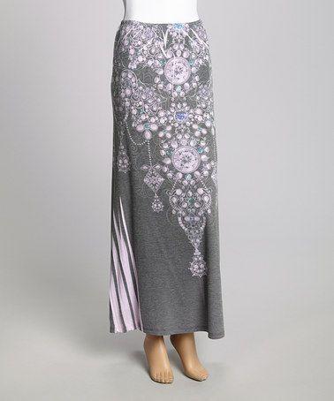 Another great find on #zulily! Pink & Gray Chandelier Maxi Skirt by Casalee #zulilyfinds