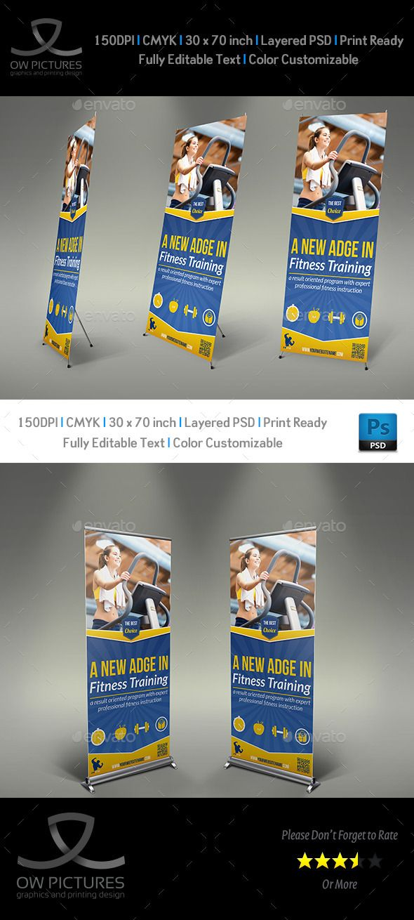 Fitness GYM Rollup Signage Banner Template Banner template - gym brochure templates