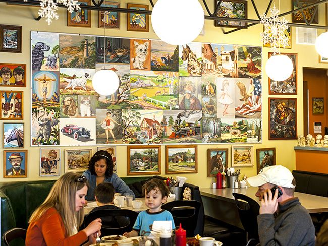 Thrift store art wall at Hot Plate Diner Isabel Subtil / Heavy Table ...