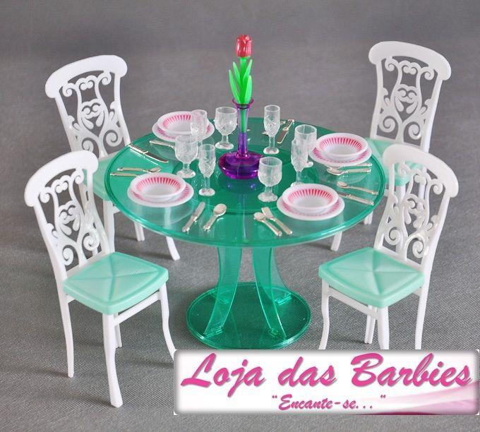 Móveis Para Barbie  Linda Sala De Jantar Com 30 Peças ! - R$ 119 - barbie wohnzimmer möbel