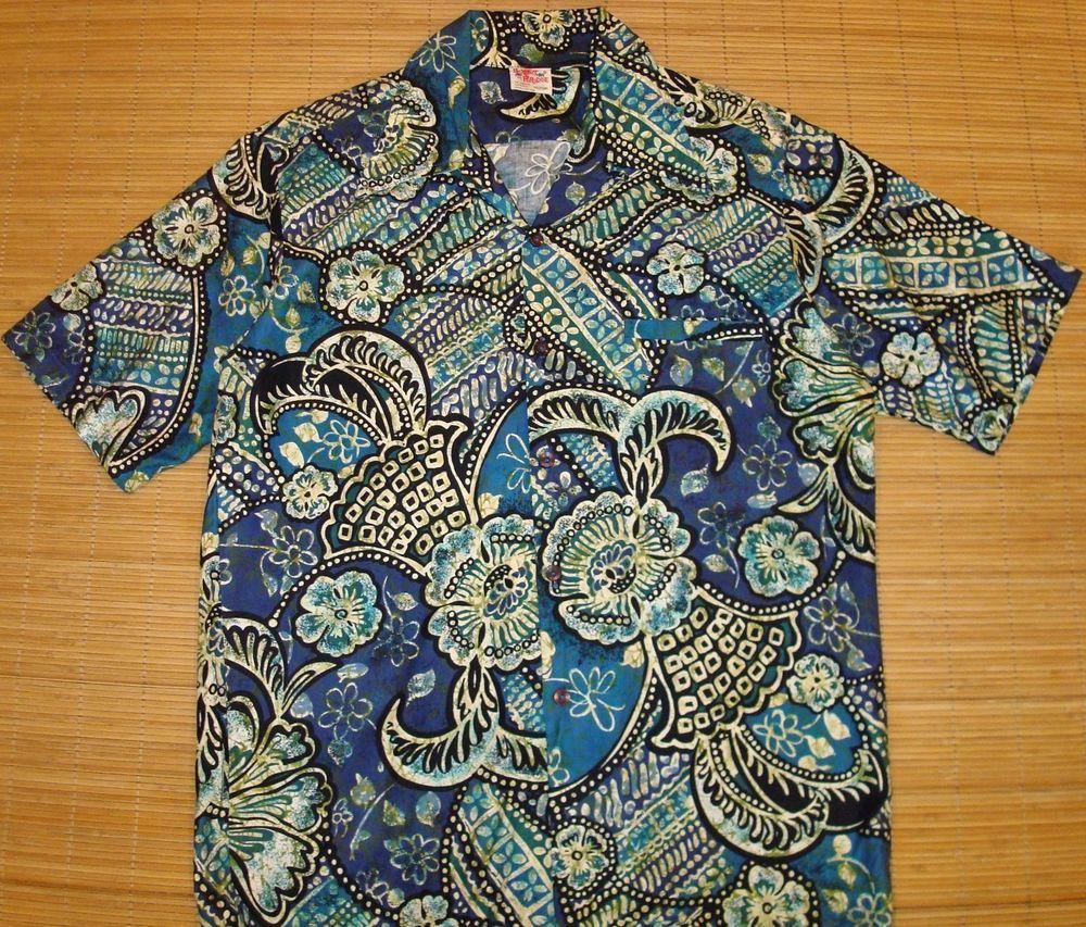 6e848997 Mens Vintage 70s Barefoot Tribal Tapa Floral Hawaiian Aloha Shirt M