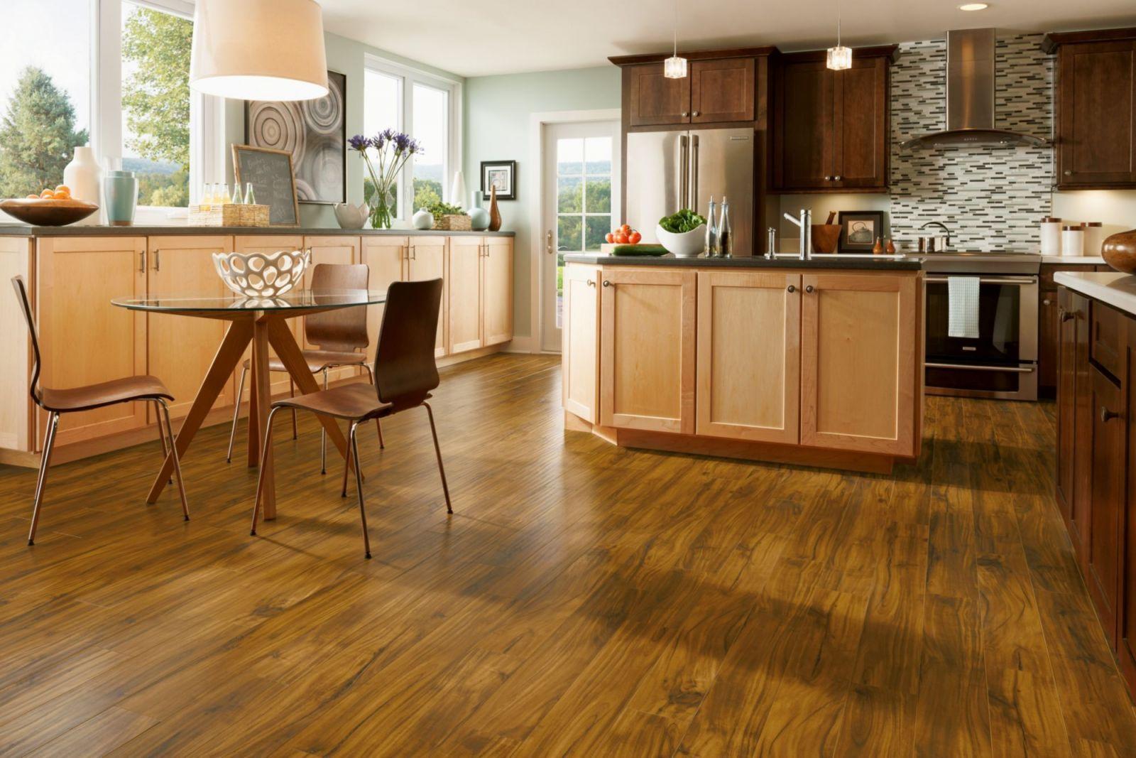 Armstrong Pryzm Native Acacia Golden Hybrid Floor W Rigid Core 6mm X 6 X 48 Laminate Flooring In Kitchen Hardwood Floors In Kitchen Wooden Kitchen Cabinets