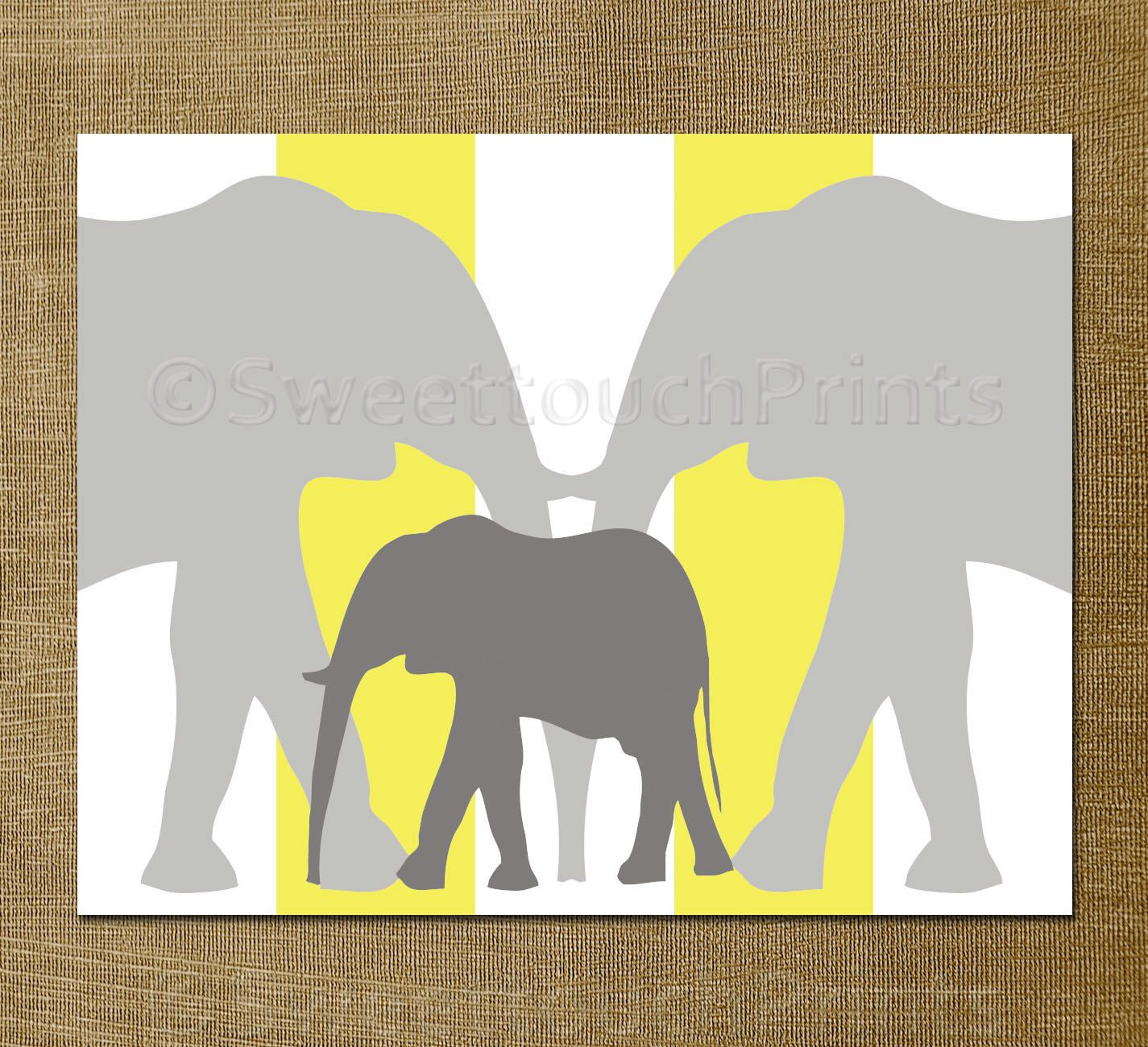 Elephant nursery love print - yellow grey nursery decor, children\'s ...