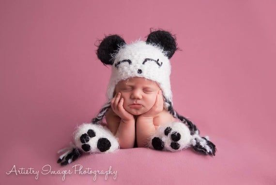 Baby Panda Bear Hat Preemie Newborn 0 3m 6m Black and White Crochet Photo Prop Baby Clothes boy girl Gender Neutral SUPER SOFT & CUTE #babypandabears